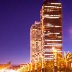 Night view of skyscraper in Port Olimpic — Stock Photo