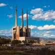 Chimneys of Besos power thermal station in Barcelona — Stock Photo #27494549