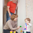F family of three in home — Stock Photo