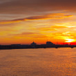 Panoramic view of Neva river in dawn — Stock Photo