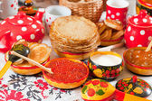 Russian pancake with caviar — Stock Photo