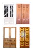 Set of double wooden doors over white — Stock Photo