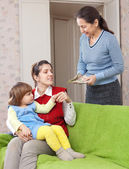 Woman hires governess for her child — Stock Photo