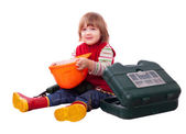 Happy child with builder hardhat and tools — Stock Photo
