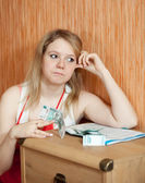 Woman thinks about financial problems — Stock Photo