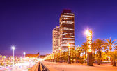Night view of skyscrapers at Barcelona — Stock Photo