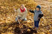 Family planting tree in autumn — Stock Photo