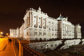 Night view of Royal Palace in Madrid — Stock Photo