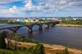 View of Nizhny Novgorod with Molitovsky bridge — Stock Photo
