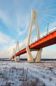 Bridge through Oka in winter — Stock Photo