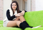 Woman in leg warmers at home — Foto de Stock