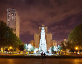 Front view of Cervantes Monument at Madrid in night — Stock Photo