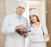 Portrait of doctor and nurse — Stock Photo