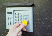 Uses intercom in door — Stock Photo