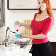 Happy housewife washing plates with detergent — Stock Photo