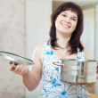Happy ordinary womwith pan — Stock Photo #28693177