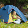 Camping woman   — Stock Photo