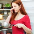 Stock Photo: Womin red with foul food