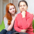 Teen girl asks for forgiveness from mother — Stock Photo