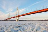 Schrägseilbrücke im winter — Stockfoto
