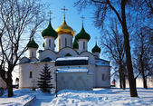 Cathedral of the Transfiguration at Suzdal in winter. Russia — Stock Photo