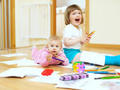 Cheerful sibling in home — Stock Photo