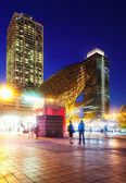 Night view of skyscrapers in Port Olimpic - center of nightlife — Stock Photo
