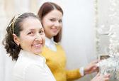 Women chooses bridal accessories — Stock Photo