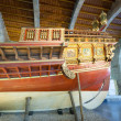 Mitation of medieval ship in Museu Maritim de Barcelona — Foto Stock