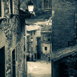 Retro photo of medieval Catalan village in Pyrenees — Stock Photo
