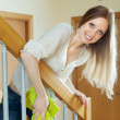 Stock Photo: Womcleaning wooden stair railings