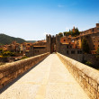 Gate on antique bridge. Besalu — Stock Photo