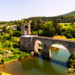 Panoramic view of  bridgee in Besalu — Stock Photo