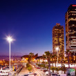 Night view of Port Olimpic in Barcelona — Stock Photo