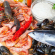 Stock Photo: Fresh raw seafoods and rice