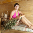 Stock Photo: Womsitting in sauna