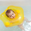 Two month baby girl n bath — Stock Photo