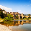 Old  town with antique bridge over  river. Besalu — Stock Photo