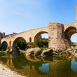 Romanesque bridge over the Fluvia river in Besalu — Stock Photo