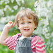 Toddler   in spring — Stock Photo