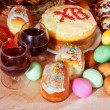 Easter table with celebrate cakes — Stock Photo