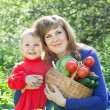 Woman and girl with vegetables in garden — Stock Photo #30997167