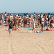 Open air party on sand beach. Barcelona — Stock Photo