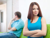 Couple after quarrel in home — Stock Photo