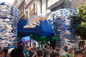 Decorated streets of Gracia district. Underwater theme — Stock Photo