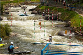 Unidentified athletes trying to route. ICF Canoe Slalom World Cu — Stock Photo