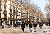 Rua pedestre em barcelona, la rambla — Fotografia Stock