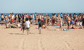 Open air party on sand beach — Stockfoto