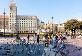 Vue de barcelone, la place de catalogne — Photo