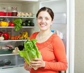 Happy woman putting vegetables into refrigerator — Stock Photo
